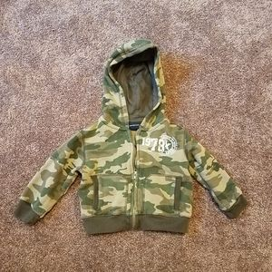Calvin Klein green camo full zip up hoodie size 2t